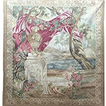 Yilong Carpet 5.2'x5.5' Handmade French Aubusson Wool Carpet Flower and Trees Wall Hanging Tapestry Pictorial Handmade Wool Rug Au285.2x5.5