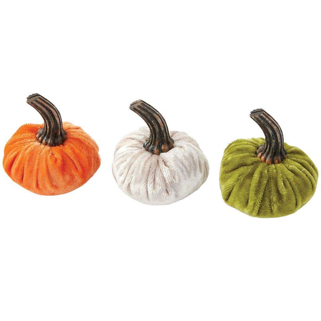 Mud Pie Home Velvet Pumpkin Autumn Thanksgiving Placecard Holder Set of 3 Colors 1 Each Color