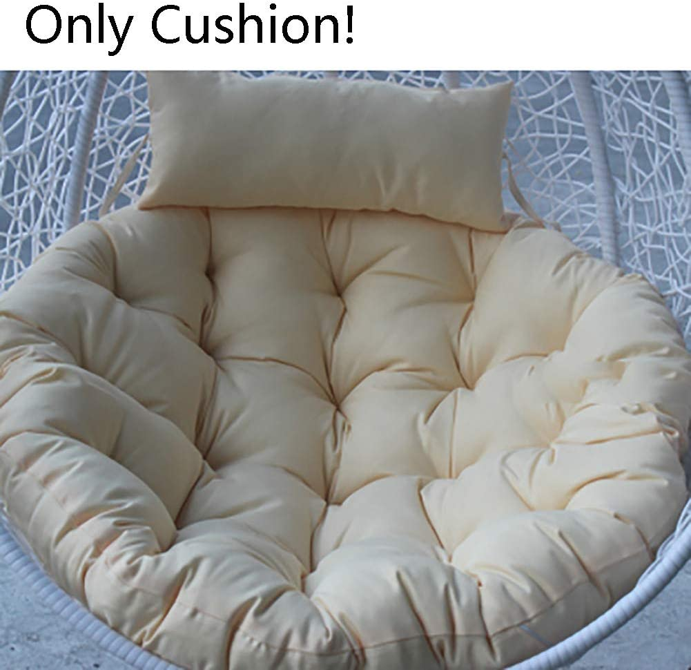 Without Chair-a 105x105cm Oversized Solid Color Overstuffed Hanging Egg Hammock Papasan Chair Cushions 41x41inch MFuton Round Swing Cushion