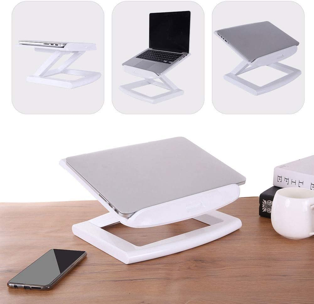 Color : White Plastic Laptop Stand Adjustable Height and Angle Foldable Notebook Cooling Holder Multifunction Tablets Book Bracket 11-17 Inch