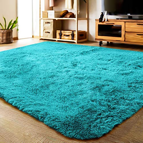 LOCHAS Soft Indoor Modern Area Rugs Fluffy Living Room Carpets Suitable for Children Bedroom Decor Nursery Rugs 4 Feet by 5.3 Feet (Blue) (Living Room Rugs Foam Memory For)