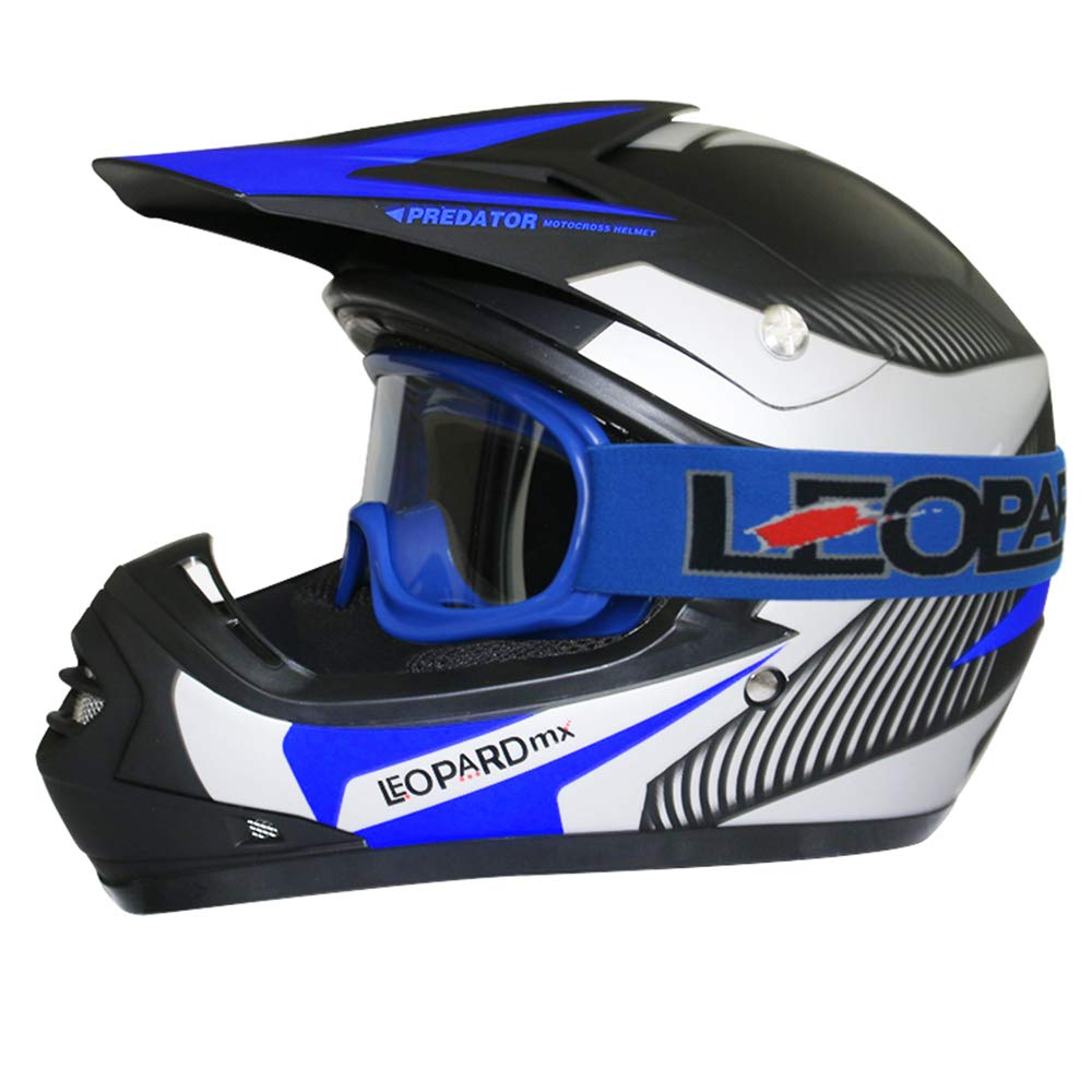 Gafas de Moto Mariposa S Leopard LEO-X18 Casco de Motocross para Ni/ños Bicicleta Motocicleta ATV Patio ECE 22-05 Aprobado 49-50cm