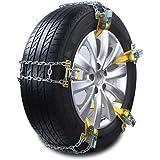 ecmqs - Cubiertas de nieve para coche, cadena de manganeso y acero, antideslizante, 1 pieza