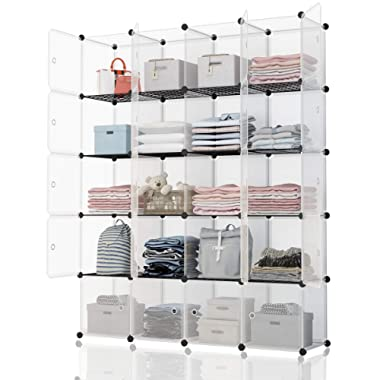 KOUSI Portable Storage Shelf Cube Shelving Bookcase Bookshelf Cubby Organizing Closet Toy Organizer Cabinet, Transparent White, 20 Cubes Storage