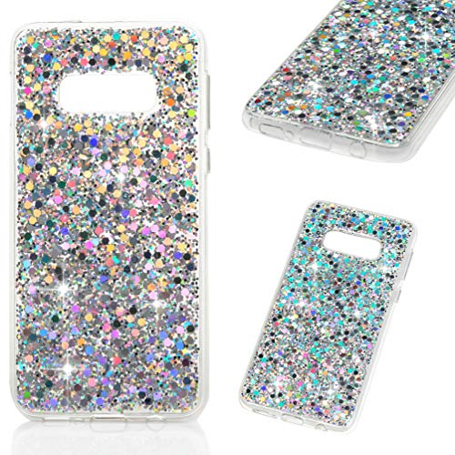 (Galaxy S10E Case, Crystal Clear Bling Shiny Glitter Shimmer Pieces Drop Resistant Shockproof TPU Bumper Frame Acrylic Shell Shock Absorption Ultral Slim Cover for Samsung Galaxy S10E Lite - Silver)