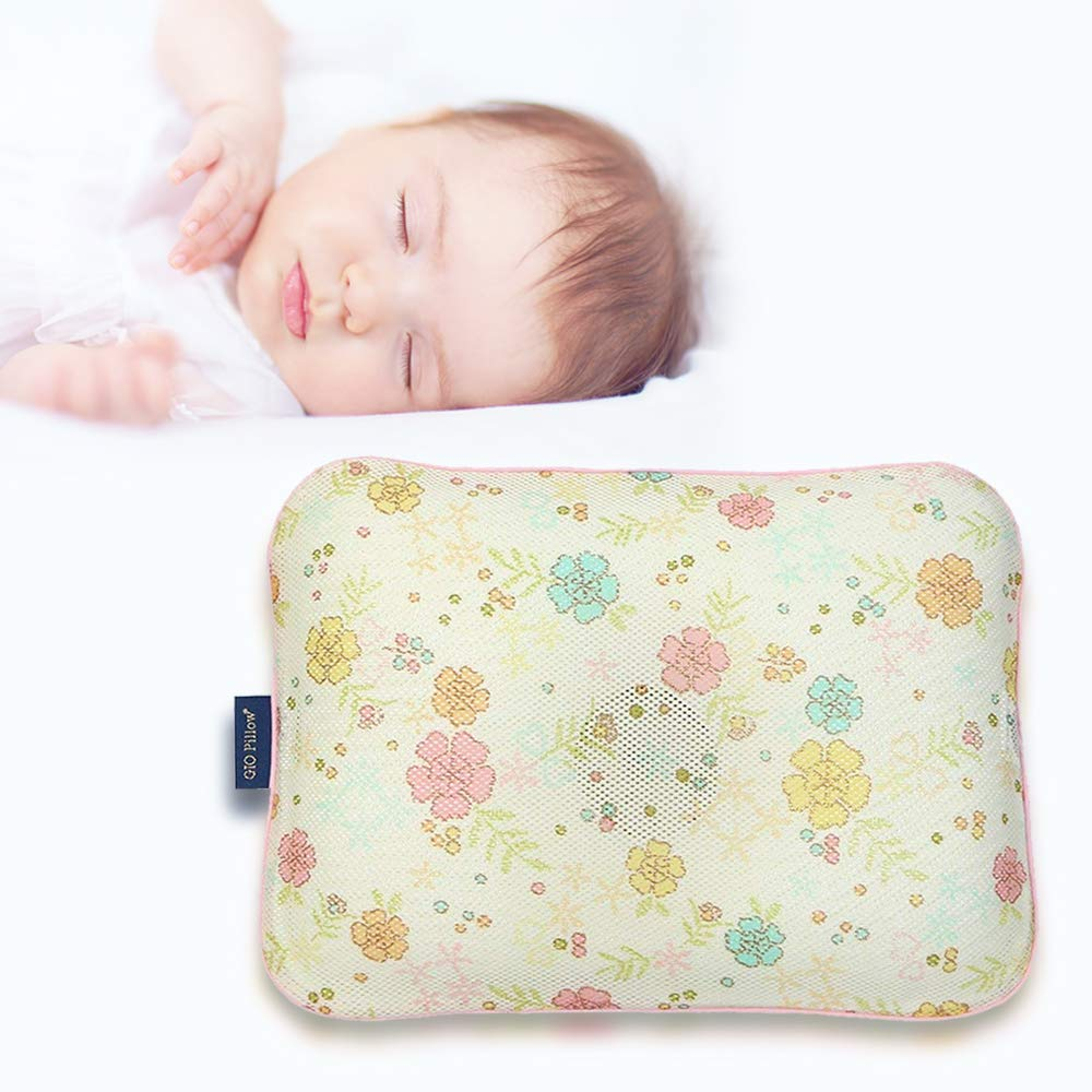 Gio Pillow 3D Air Mesh Baby Pillow, Head Shaping Pillow, Flat Head Syndrome Prevention [Gold Flower/Medium]