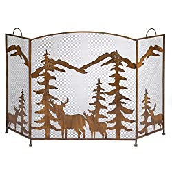 Rustic Forest Iron Fireplace Screen by Koolekoo