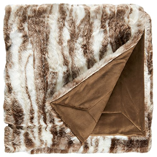 (Stone & Beam Marble Faux Fur Throw Blanket, Soft and Luxurious, 80