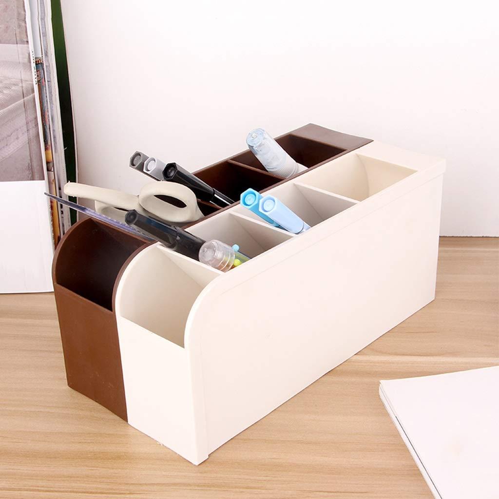 QIQIDEDIAN Caja de Almacenamiento Mesa Mesa Mesa de Oficina Rejilla Oblicua Papelería Caja de Acabado Compartimento de Almacenamiento de escombros Multiusos Titular de la Pluma (Color : Marrón) c6de35