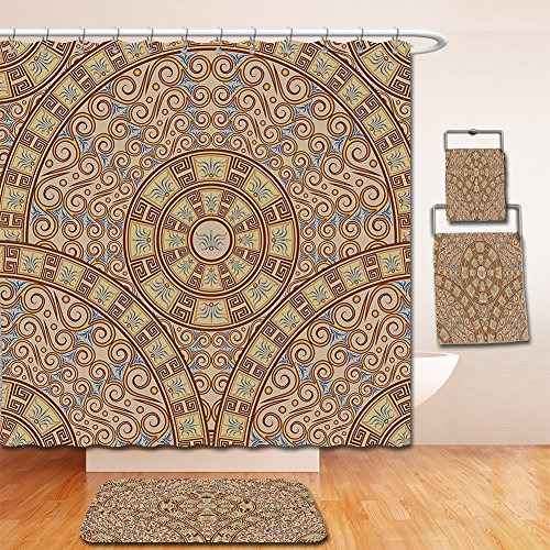 Caramel Brown Swirl - Nalahome Bath Suit: Showercurtain Bathrug Bathtowel Handtowel Brown Abstract Art Greek Style Circular Pattern Swirls Floral Oriental Details Image Cocoa and Caramel