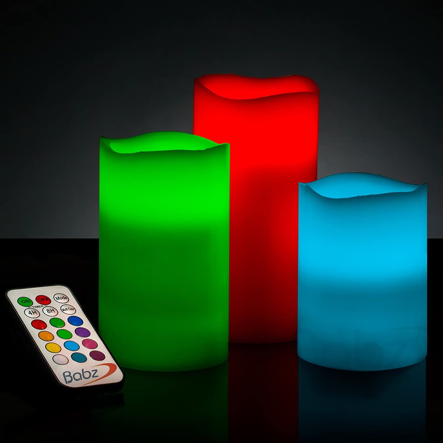 Babz Smooth 3 x Weatherproof Outdoor and Indoor Colour Changing LED Candles with Remote Control & Timer - Vanilla Scent Babz Media Ltd