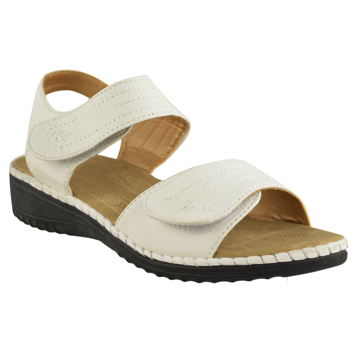 cfb9044a24f3a8 LADIES WOMENS VELCRO COMFORT CASUAL WALKING FLAT SUMMER SANDALS SIZE   Amazon.co.uk  Shoes   Bags