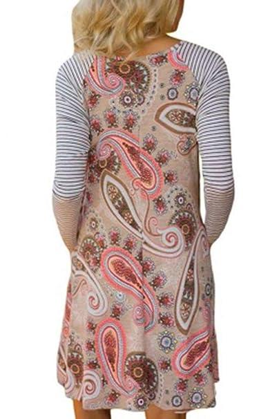 BOZEVON Dresses Women - Fashion Round Neck Long Sleeve Striped Print Dress at Amazon Womens Clothing store: