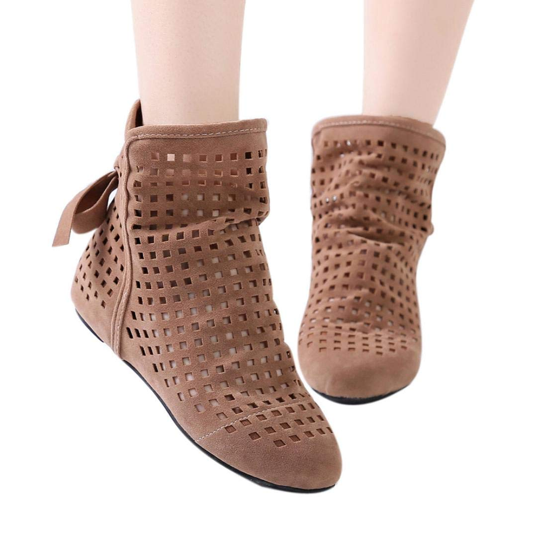 baskuwish Women's Slip On Cute Booties Flat Low Hidden Wedge Cutout Ankle Boots Casual Shoes (40, Brown)
