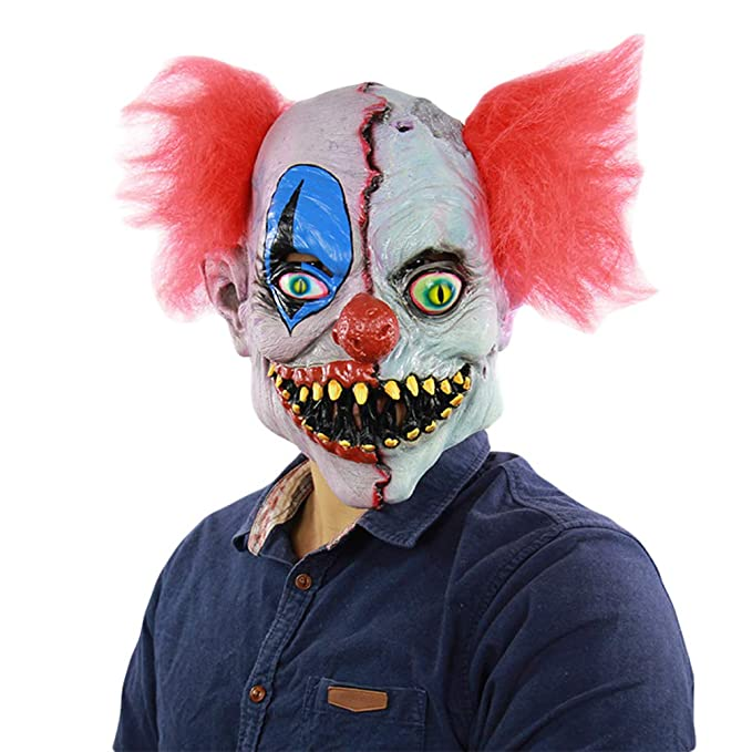 Xinwcanga Máscara de Payaso Aterrador Látex para Disfraz de Halloween para La Fiesta De Disfraces De Carnaval (Rojo, Talla única): Amazon.es: Ropa y ...