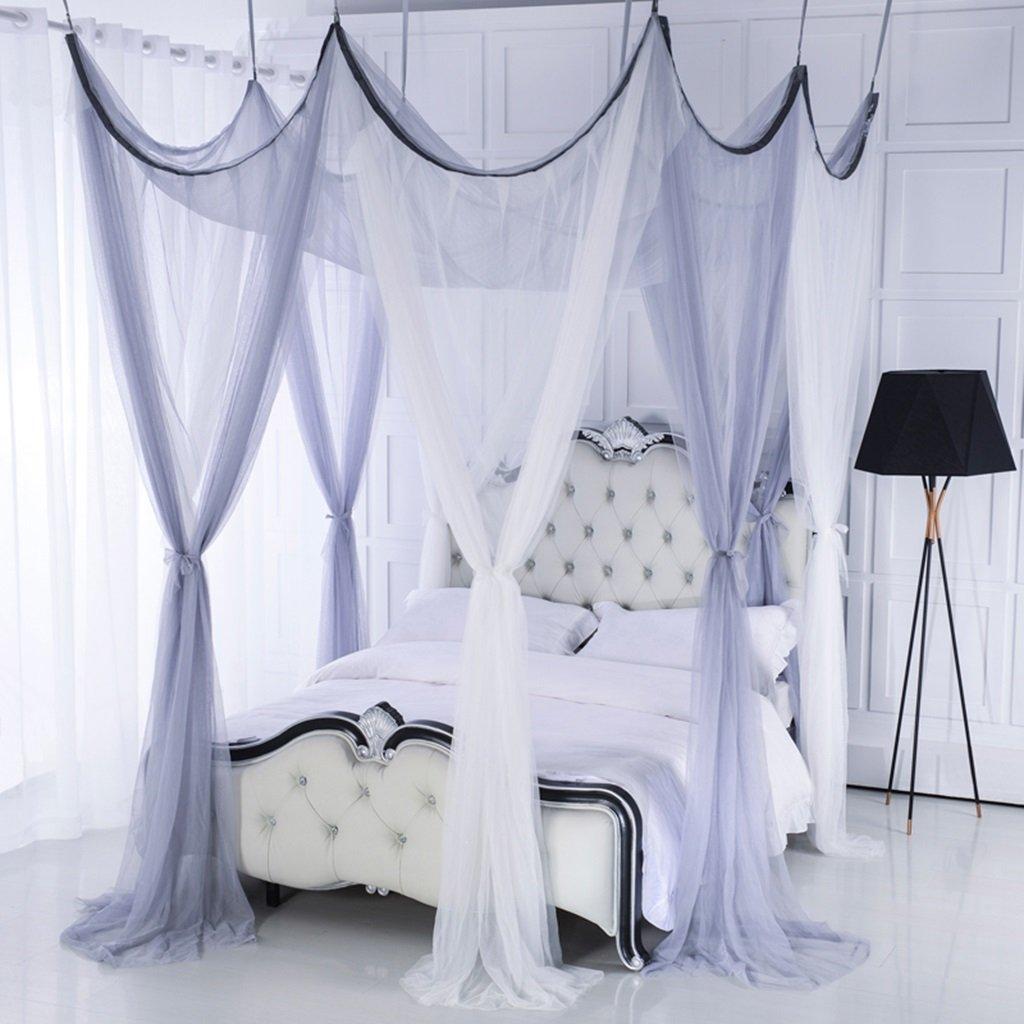 MZ Einfaches graues achttüriges Moskitonetz, dreitüriges 1.8m doppeltes allgemeines Moskitonetz des Haushalts (Farbe : Grau and Weiß, größe : 1.0m (3.3 feet) Bed)