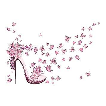 Amazon.com: Whitelotous Pink Butterfly High Heel Wall Stickers Vinyl ...