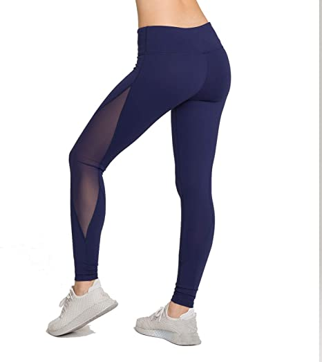 LOVESOFT Mesh Leggings for Women Ankle Length Yoga Pants for Workout Running Fitness High Waist and Non See-Through