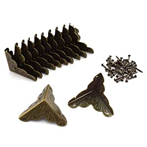 "SDTC Tech 12 Pack Furniture Corner Protector 1"" x 1"" Antique Bronze Triangle Edge Decorative Metal Corner Guard for Storage Box Jewelry Case Cabinet Coffee Table Wooden Chest etc."