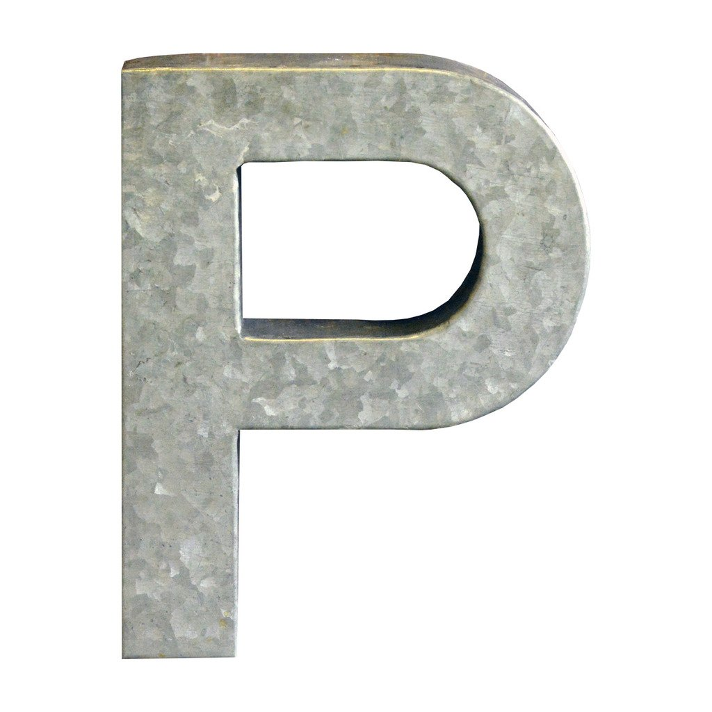 Modelli Creations Alphabet Letter P Wall Decor, Zinc