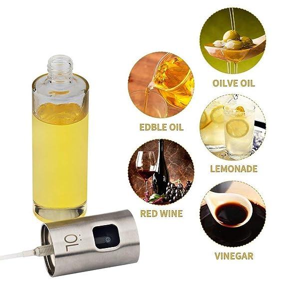 Botella de aerosol de cocina portátil aceite de oliva y cocina vinagre balsámico salsa de soja vino spray Premium 304 acero inoxidable asado a la parrilla ...