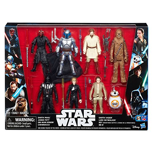 Star Wars Saga 7-Pack Action Figures Rey, Darth Vader Chewba