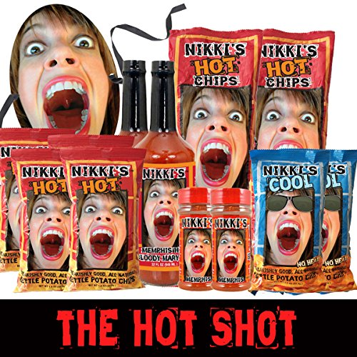 Nikki's Hot Shot Spicy Gift Basket The Hot Shot Chip, Seasoning, Bloody Mary Gift Basket Box Assortment for the Spice Lover In Your Life, Gluten Free Vegan