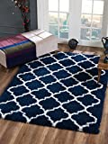 Delphia Rugs Modern Moroccan Trellis Design Thick Shag Pile Floor Rug 6x9 (Navy Blue & White) for Living Room Dining Area and Bedroom