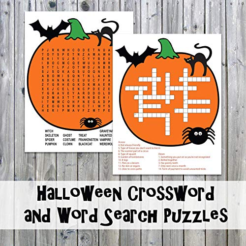 Halloween Crossword Puzzle and Word Search - Party Game Printables - Instant Download]()