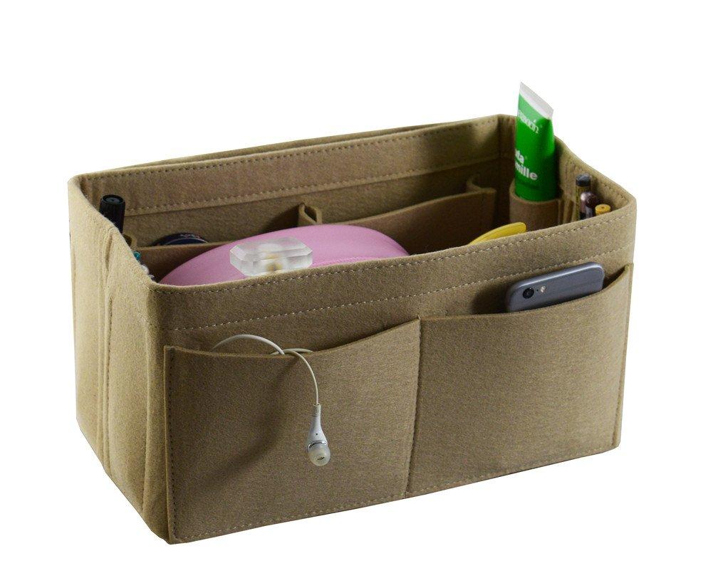 Large Felt Purse Organizer Bag, Fits Neverfull MM and Speedy 30, Beige