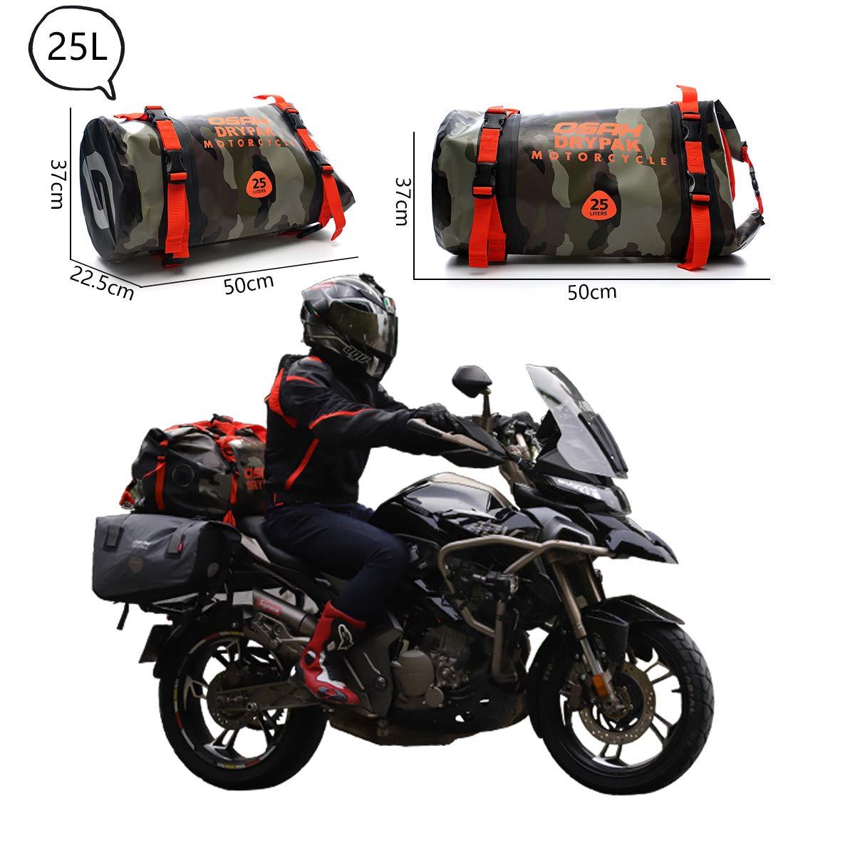 40L al Aire Libre Negro Bolsa Impermeable de Motocicleta Rafting Bolsa de Sill/ín Reflectante para Motociclismo Viajes,Pesca Ciclismo Camping Mochila Duffel con Roll-Top de 1000D PVC