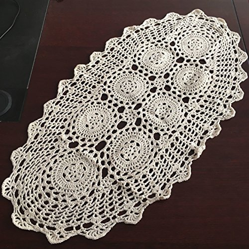 Oval Tablecloth Crochet Pattern (Ustide Hand Crochet Table Doily Rustic Floral Pattern Cotton Table Cover in Dining Room, Oval, Beige,13.7
