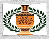 Toga Party Tapestry by Ambesonne, Old Antique Greek Vase with Olive Branch Motif and Laurel Wreath, Wall Hanging for Bedroom Living Room Dorm, 80 W X 60 L Inches, Hunter Green Orange Black