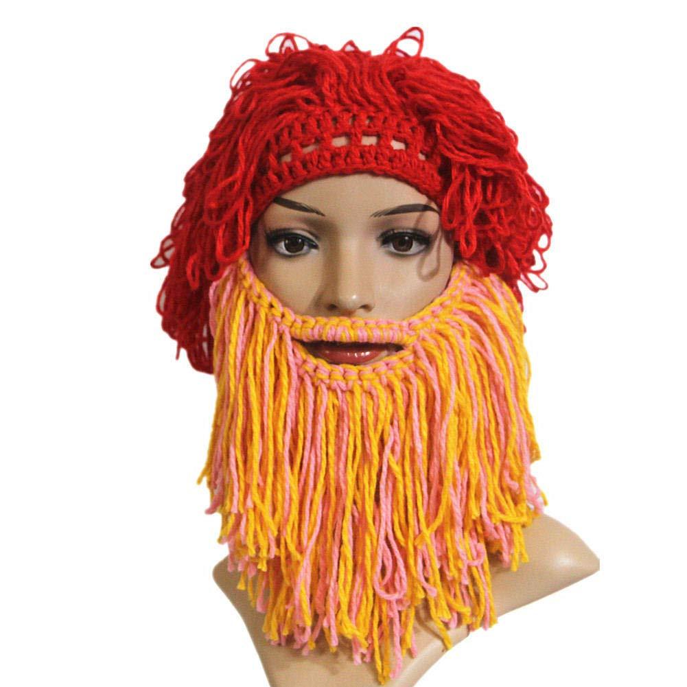 d16ab25fe71 BIBITIME Handmade Crazy Beard Hat Wig Beanie Original Barbarian ...