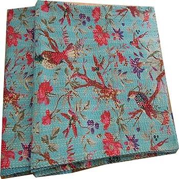 Amazon.com: Handicrunch Sari Indian Quilt -Kantha Quilt Quilted ... : how to kantha quilt - Adamdwight.com