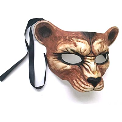 Halloween Masquerade Leopard Mask Animal Cosplay Haunted House Costume Party Wear or Deco (Natural): Toys & Games [5Bkhe1203345]