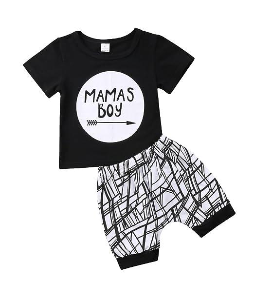 21404c460f9a Amazon.com  Baby Boys Outfit Mamas Boy Pint Short Sleeve T-Shirt+ ...