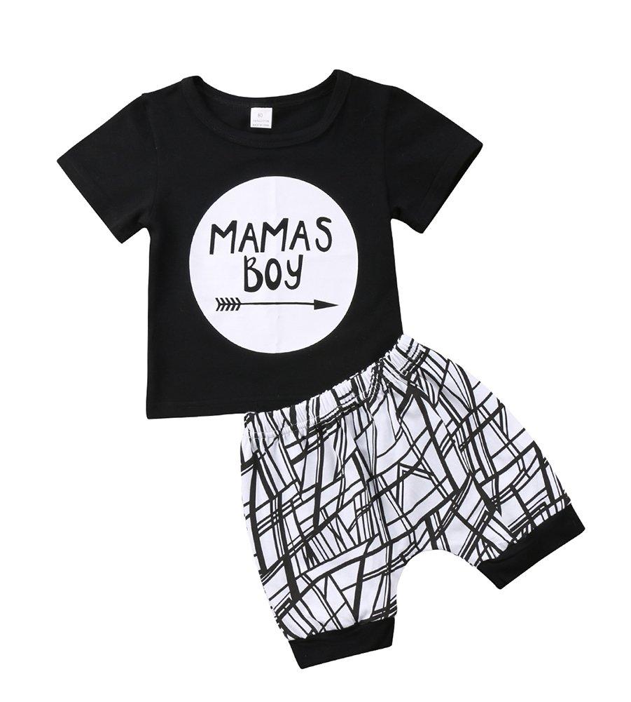 Baby Boys Outfit Mamas Boy Pint Short Sleeve T-Shirt+Striped Leggings Pants Clothes Sweatsuit Set (Black, 18-24 Months)
