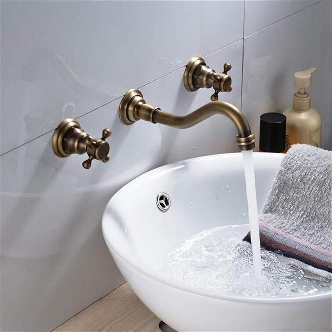 Retro Tippen Moderner Luxuskupfermischer Wasserhahn Dual Griffe Retro Wandmontage Für Kalt- Und Warmwasserhahn