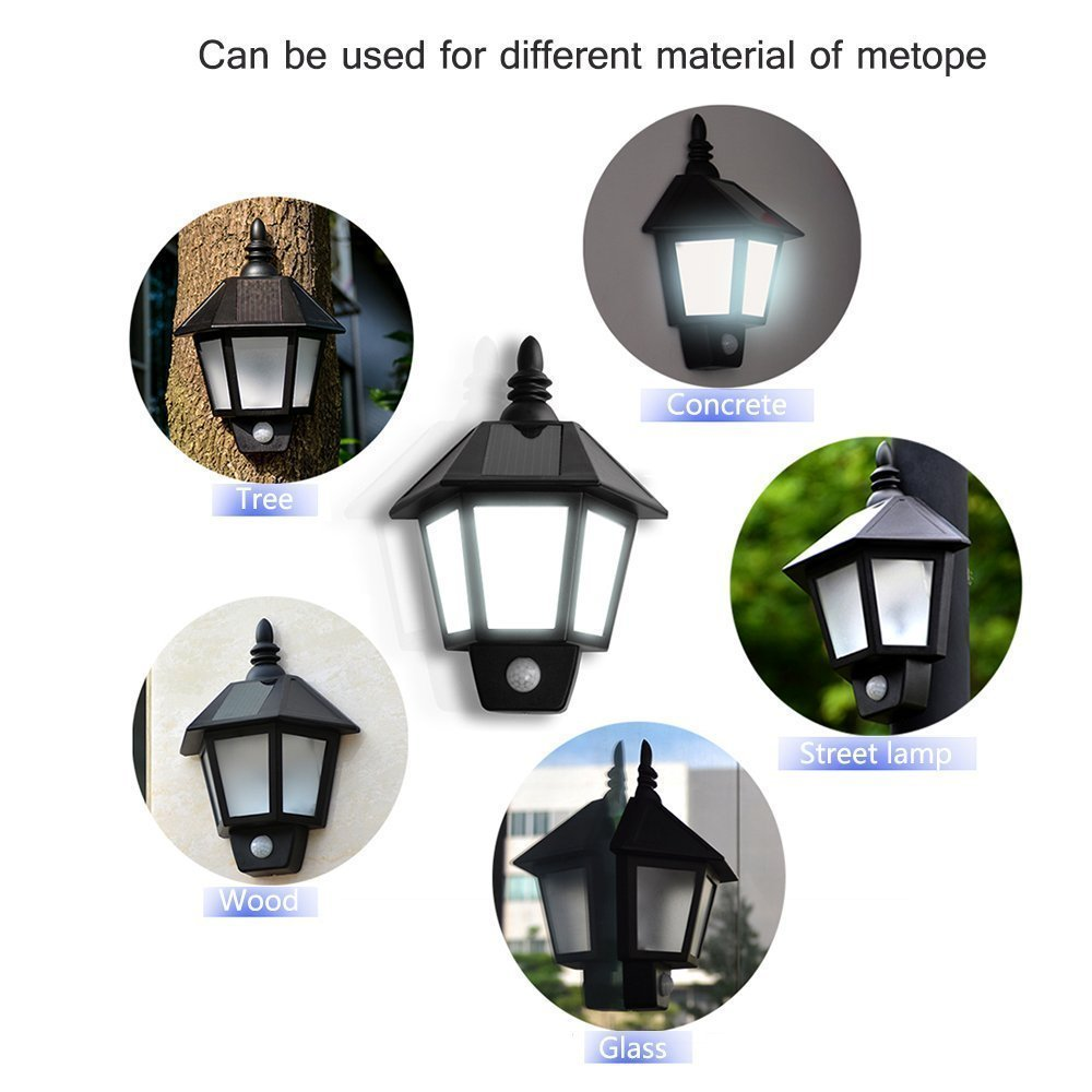 VINTAGE SOLAR POWERED LED WALL LIGHT / TWO SMART COLOR-SWITCH MODE