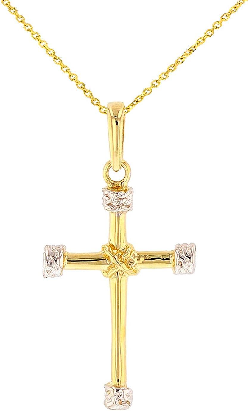 Polished 14K Gold Plain Tubular Cross Knot Pendant Necklace