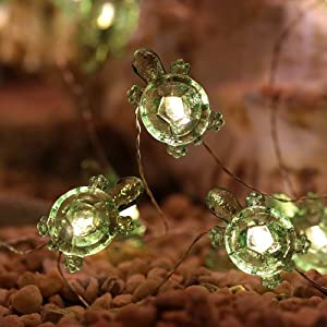 MH Green Turtle String Lights Turtle Decorative String Lights 18.7 Ft 40 Warm White Led USB Plug-in Silver Copper Wire Novelty Fairy Lights for Holiday Party Bedroom Wedding Nursery Decorations