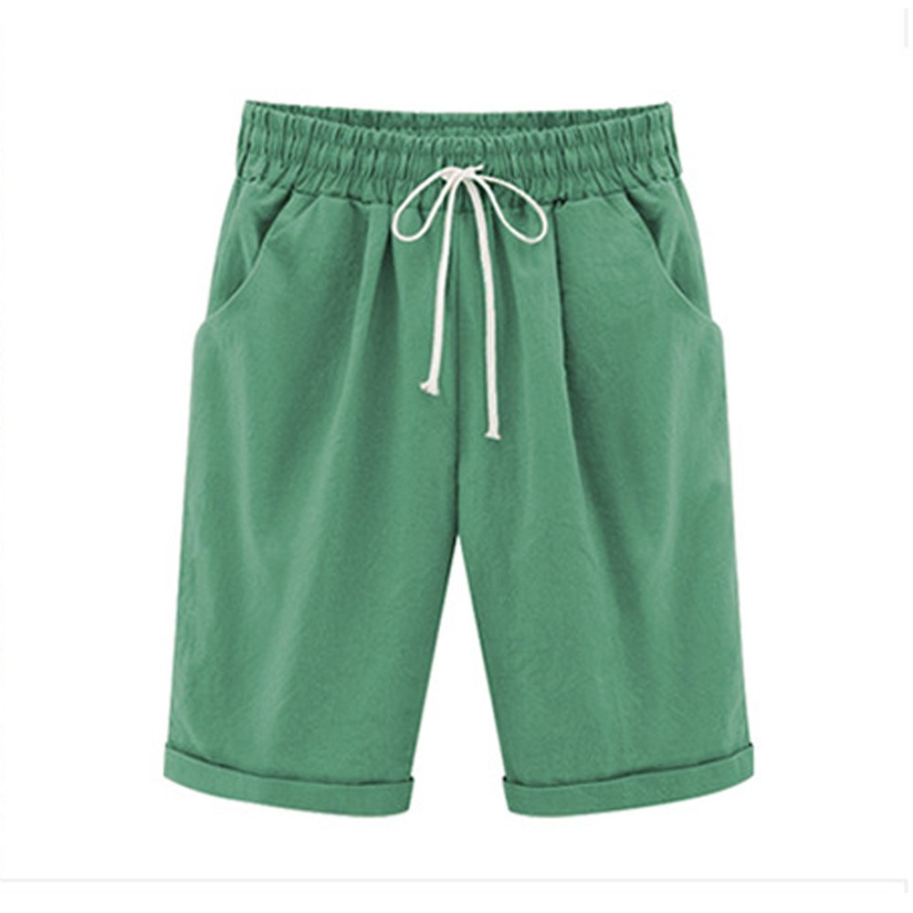 Women's Casual Elastic Waist Knee-Length Curling Bermuda Shorts Grass Green Tag 5XL-US 14
