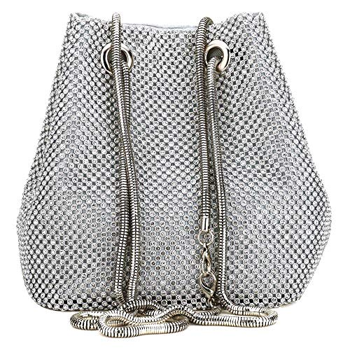 Clutch Bag, Women Evening Bag with Sparkly Crystal Rhinestone Elegant Clutch Purse Bag Handbag with Chain Shoulder Straps (Silver)