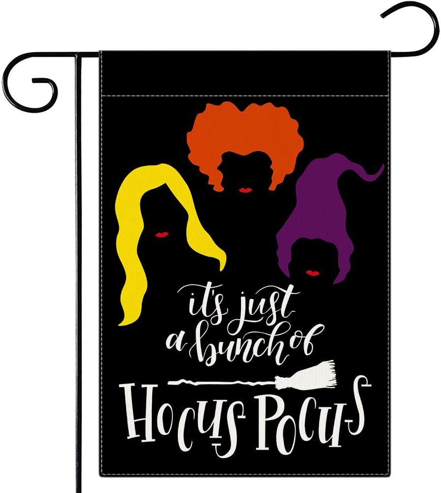 Dsweesun Halloween Hocus Pocus Garden Flag, Sanderson Sisters Halloween Garden Flag Double Sided 12.5 x 18 Inch, Witch Hocus Pocus Decorations for Halloween Yard Outdoor Decoration