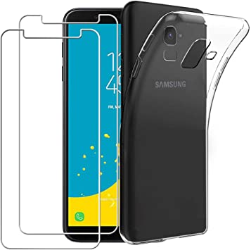 Yoowei Carcasa Samsung Galaxy J6 2018 Transparente + [2-Pack Protector de Pantalla de Cristal Templado], Muelles de TPU Silicona Ultra Fina Anti-Scratch Funda para Samsung J6 2018 Smartphone: Amazon.es: Electrónica