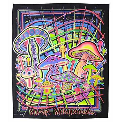 oms Blacklight Reactive Cloth Wall Hanging Tapestry (Mushroom Blacklight Poster)