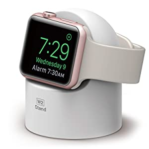 elago W2 Stand [White] - [Supports Nightstand Mode][Cable Management][Scratch-Free Silicone] - for Apple Watch Series 1, 2, 3, and 4