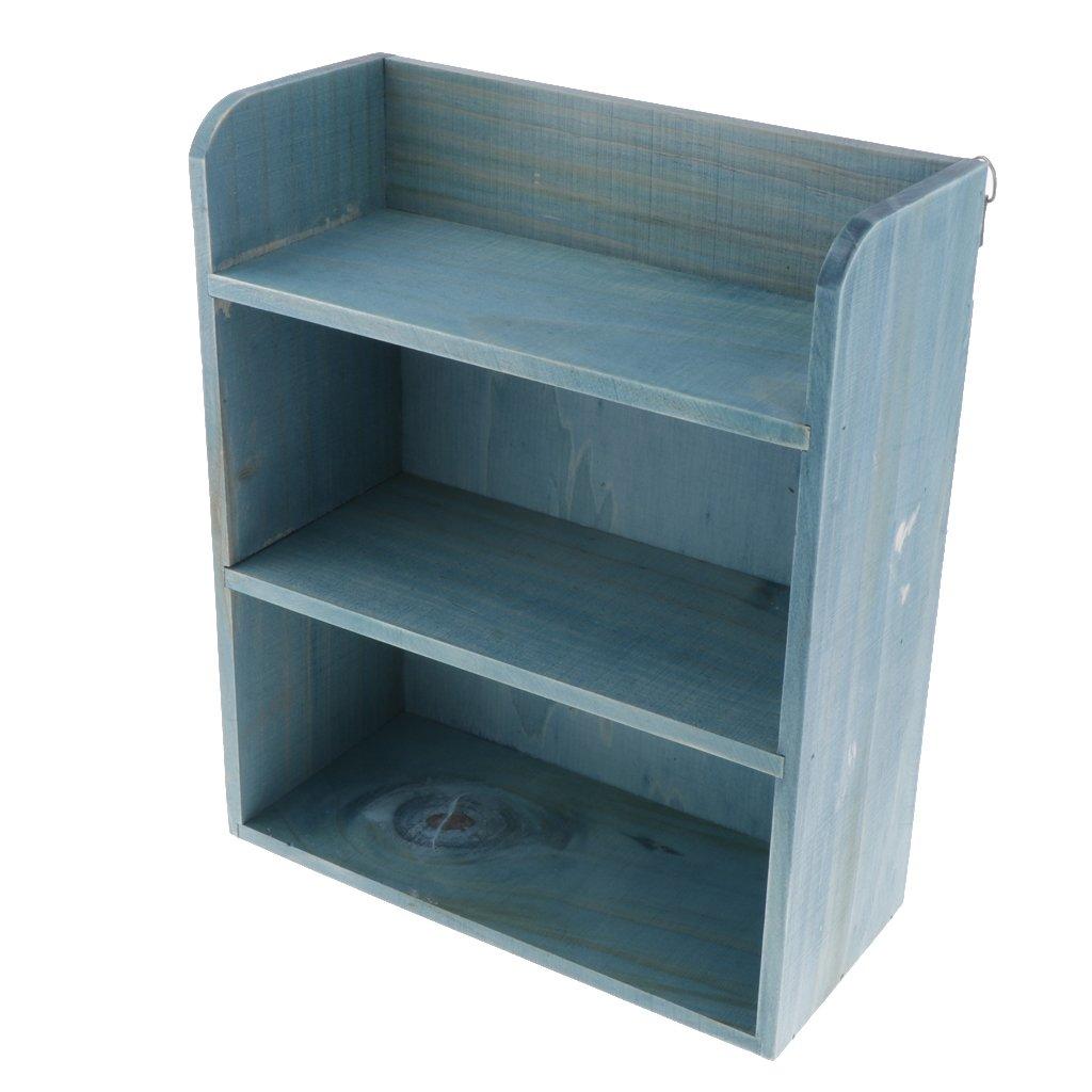 Azul Retro Multi Capa Caja De Almacenamiento De Muebles De Madera Gabinete Caja De Exhibici/ón del Gabinete De Almacenamiento De Pared para Sala De Estar