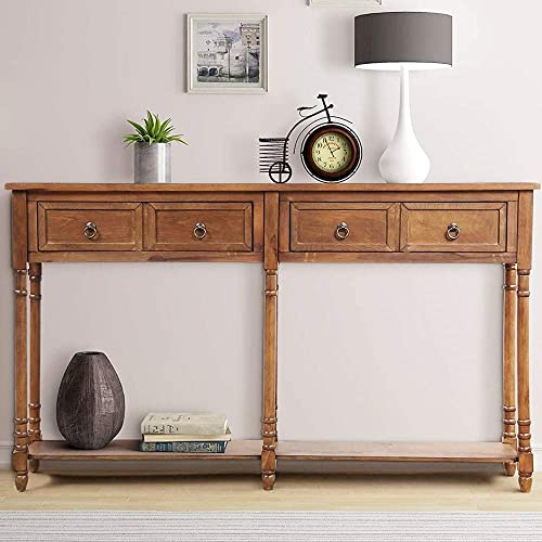 Console Tables for Entryway, Norcia 58 Wide Rustic Hallway Table, Sofa Tables Narrow Long with Storage for Living Room Antique Walnut